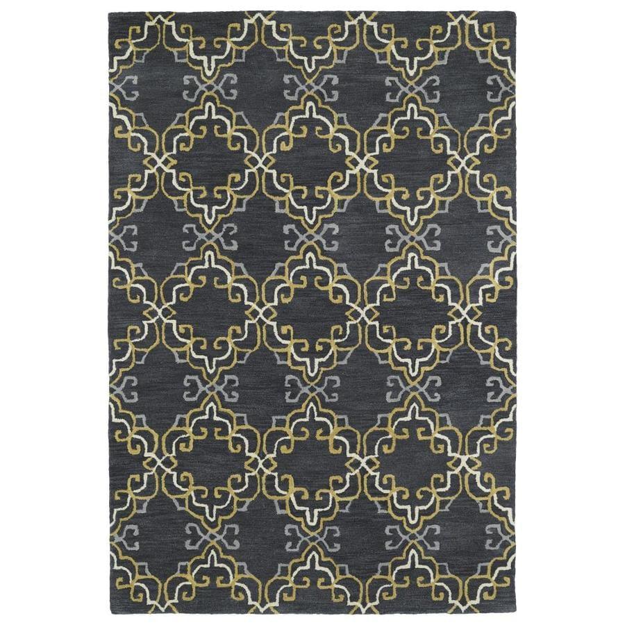 Kaleen Melange Graphite Rectangular Indoor Handcrafted Oriental Throw Rug (Common: 2 x 3; Actual: 2-ft W x 3-ft L)