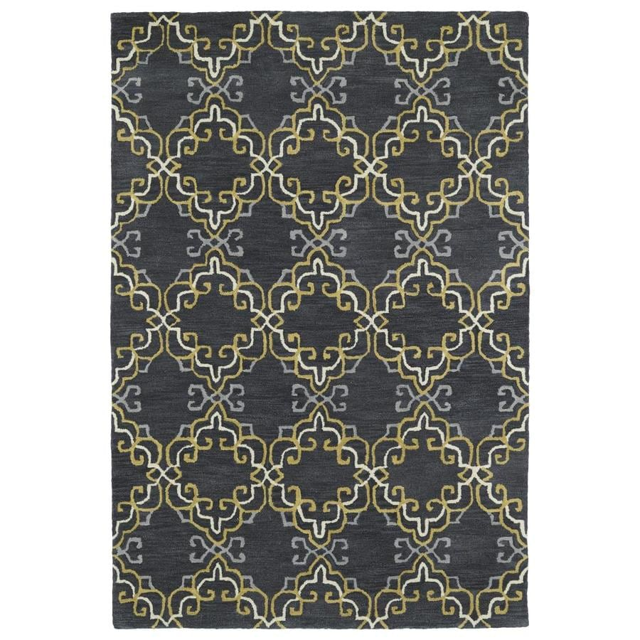 Kaleen Melange Graphite Rectangular Indoor Handcrafted Oriental Throw Rug (Common: 3 x 5; Actual: 3-ft W x 5-ft L)
