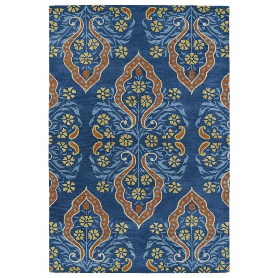 Kaleen Melange Blue Rectangular Indoor Handcrafted Oriental Area Rug (Common: 5 x 8; Actual: 5-ft W x 7.75-ft L)