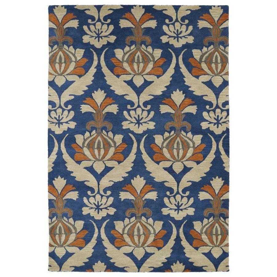 Kaleen Melange Blue Rectangular Indoor Handcrafted Oriental Area Rug (Common: 5 x 8; Actual: 5-ft W x 7.75-ft L)