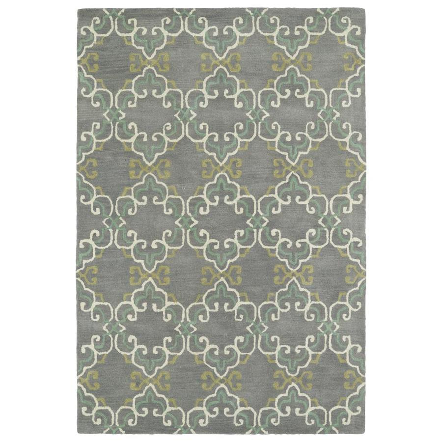 Kaleen Melange Pewter Indoor Handcrafted Oriental Area Rug (Common: 8 x 10; Actual: 8-ft W x 10-ft L)