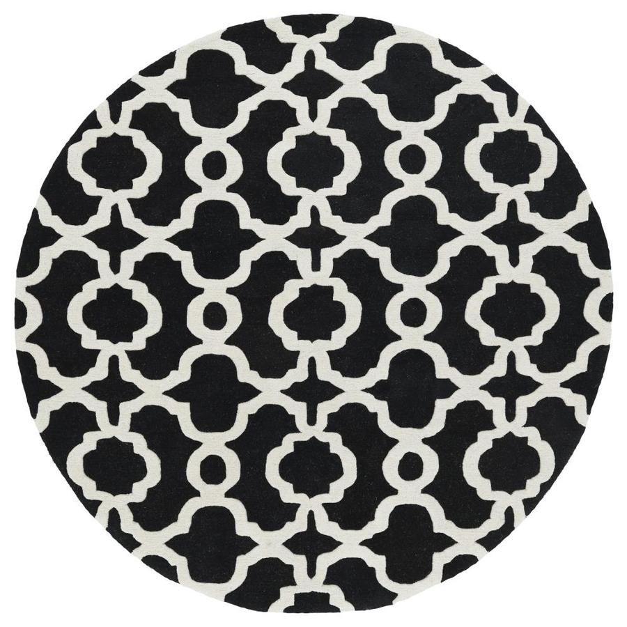 Kaleen Revolution Black Round Indoor Handcrafted Novelty Area Rug (Common: 12 x 12; Actual: 11.75-ft W x 11.75-ft L x 5.88-ft dia)