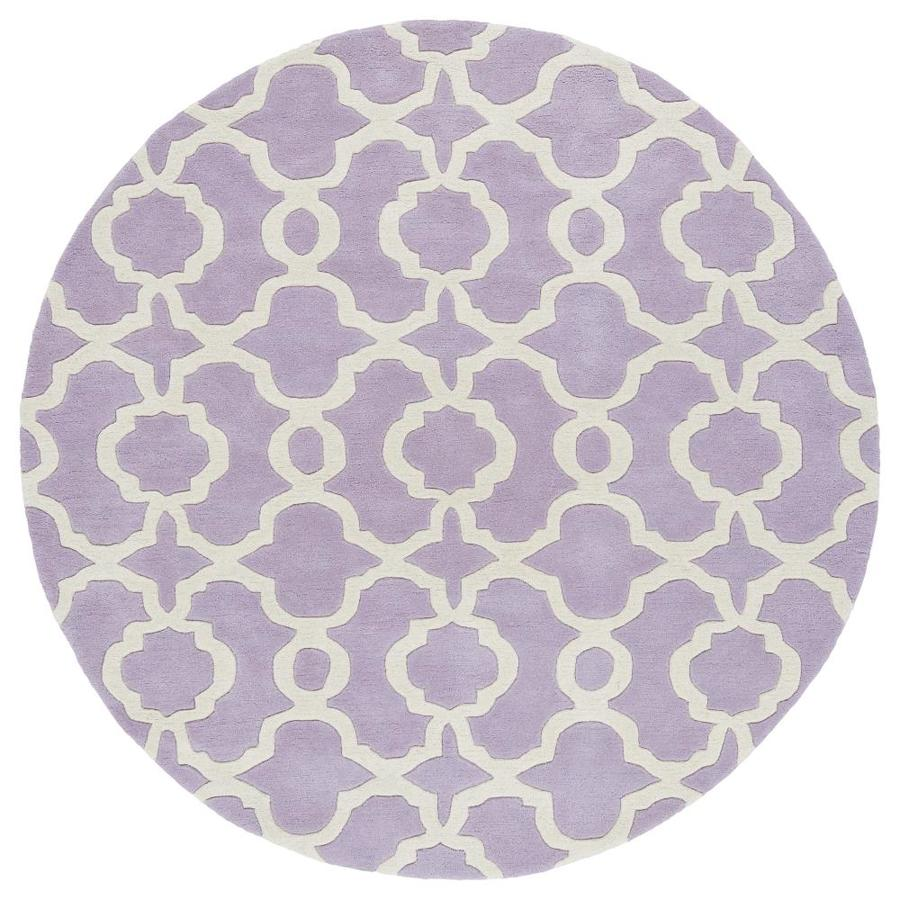 Kaleen Revolution Lilac Round Indoor Handcrafted Novelty Area Rug (Common: 8 x 8; Actual: 7.75-ft W x 7.75-ft L x 3.88-ft dia)