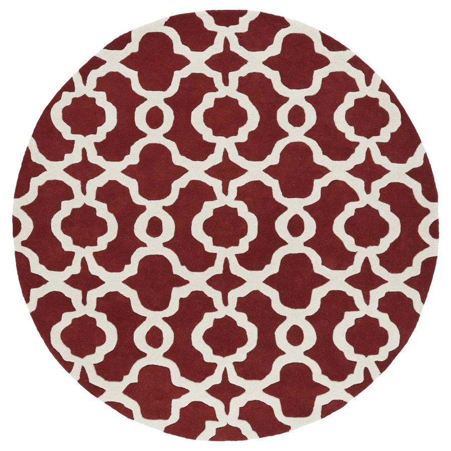 Kaleen Revolution Red Round Indoor Handcrafted Novelty Area Rug (Common: 8 x 8; Actual: 7.75-ft W x 7.75-ft L x 3.88-ft dia)