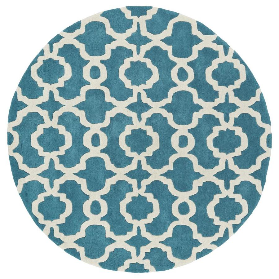 Kaleen Revolution Teal Round Indoor Handcrafted Novelty Area Rug (Common: 8 x 8; Actual: 7.75-ft W x 7.75-ft L x 3.88-ft dia)