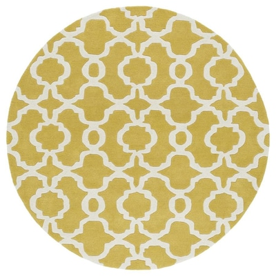 Kaleen Revolution Yellow Round Indoor Handcrafted Area Rug