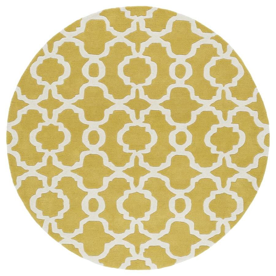 Kaleen Revolution Yellow Round Indoor Handcrafted Novelty Area Rug (Common: 8 x 8; Actual: 7.75-ft W x 7.75-ft L x 3.88-ft dia)