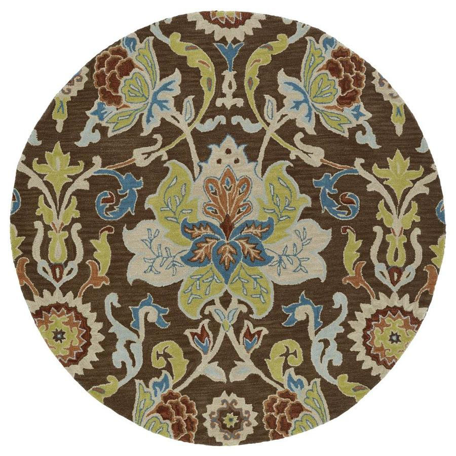 Kaleen Taj Chocolate Round Indoor Handcrafted Nature Area Rug (Common: 8 x 8; Actual: 7.75-ft W x 7.75-ft L x 3.88-ft dia)