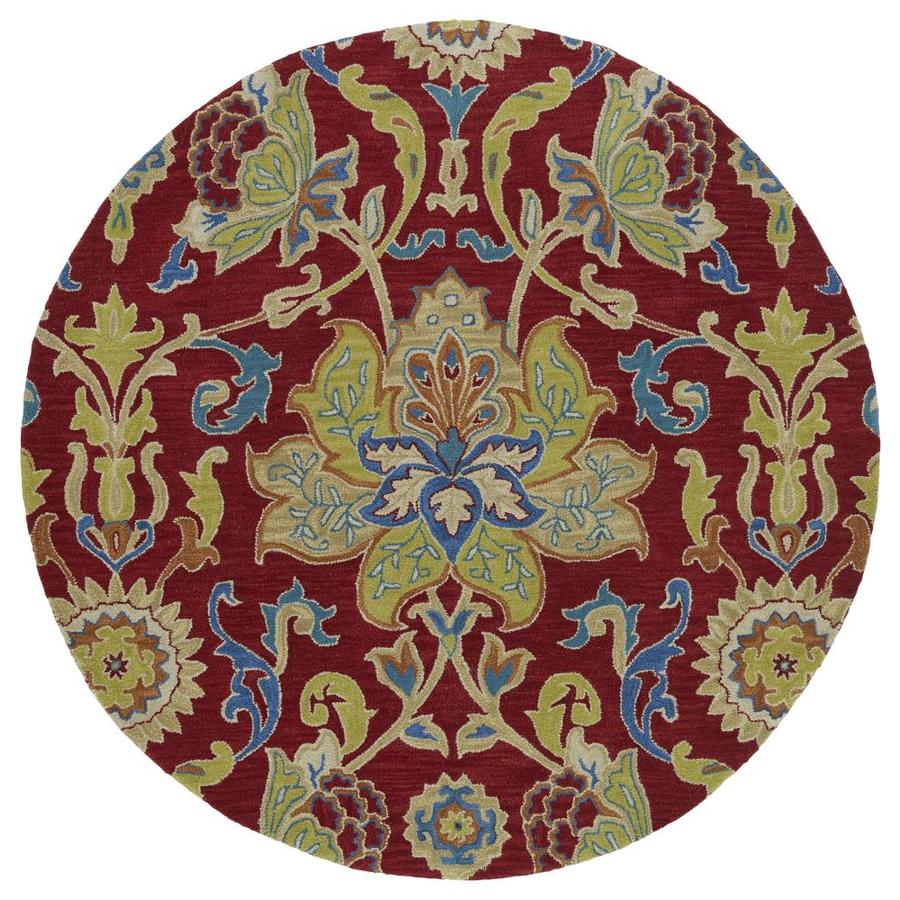 Kaleen Taj Red Round Indoor Handcrafted Nature Area Rug (Common: 4 x 4; Actual: 3.75-ft W x 3.75-ft L x 1.88-ft dia)