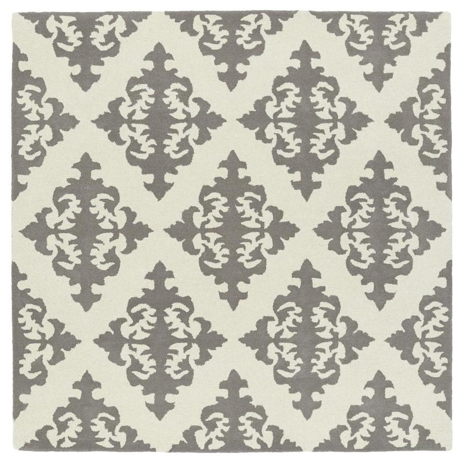 Kaleen Evolution Grey Square Indoor Handcrafted Area Rug (Common: 4 x 4; Actual: 3.75-ft W x 3.75-ft L)