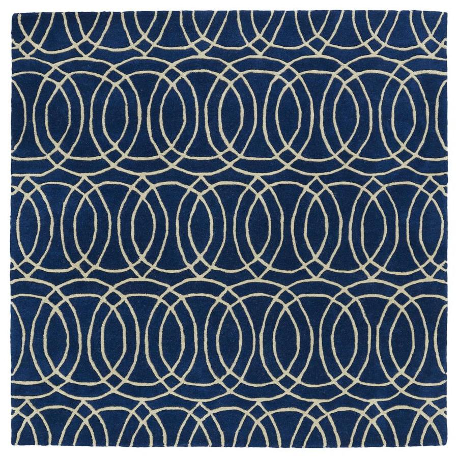 Kaleen Revolution Navy Square Indoor Handcrafted Novelty Area Rug (Common: 4 x 4; Actual: 3.75-ft W x 3.75-ft L)