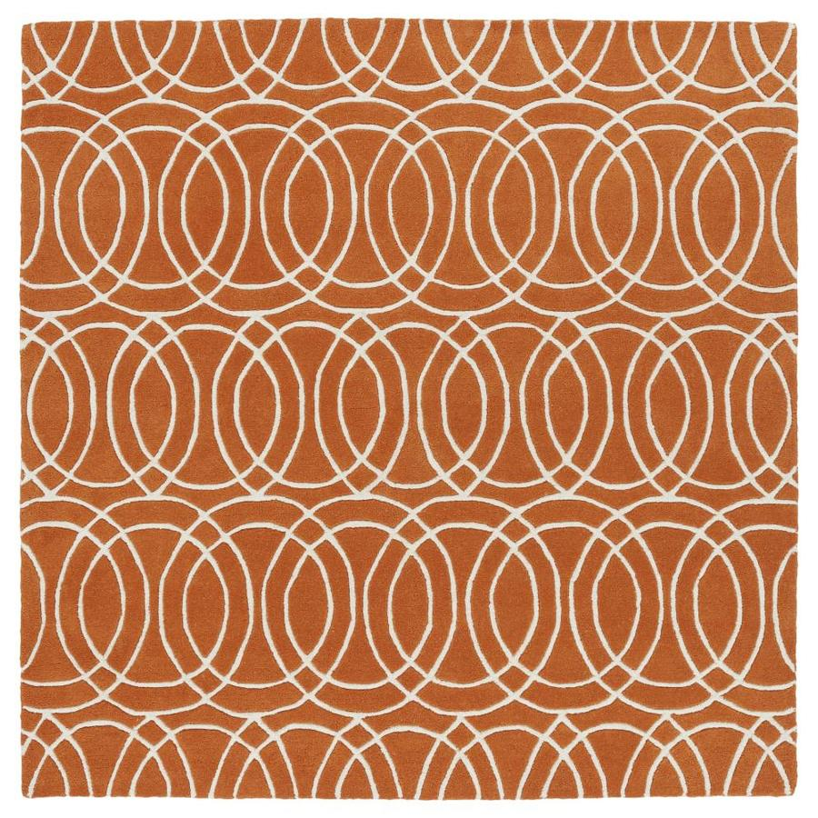 Kaleen Revolution Orange Square Indoor Handcrafted Novelty Area Rug (Common: 8 x 8; Actual: 7.75-ft W x 7.75-ft L)