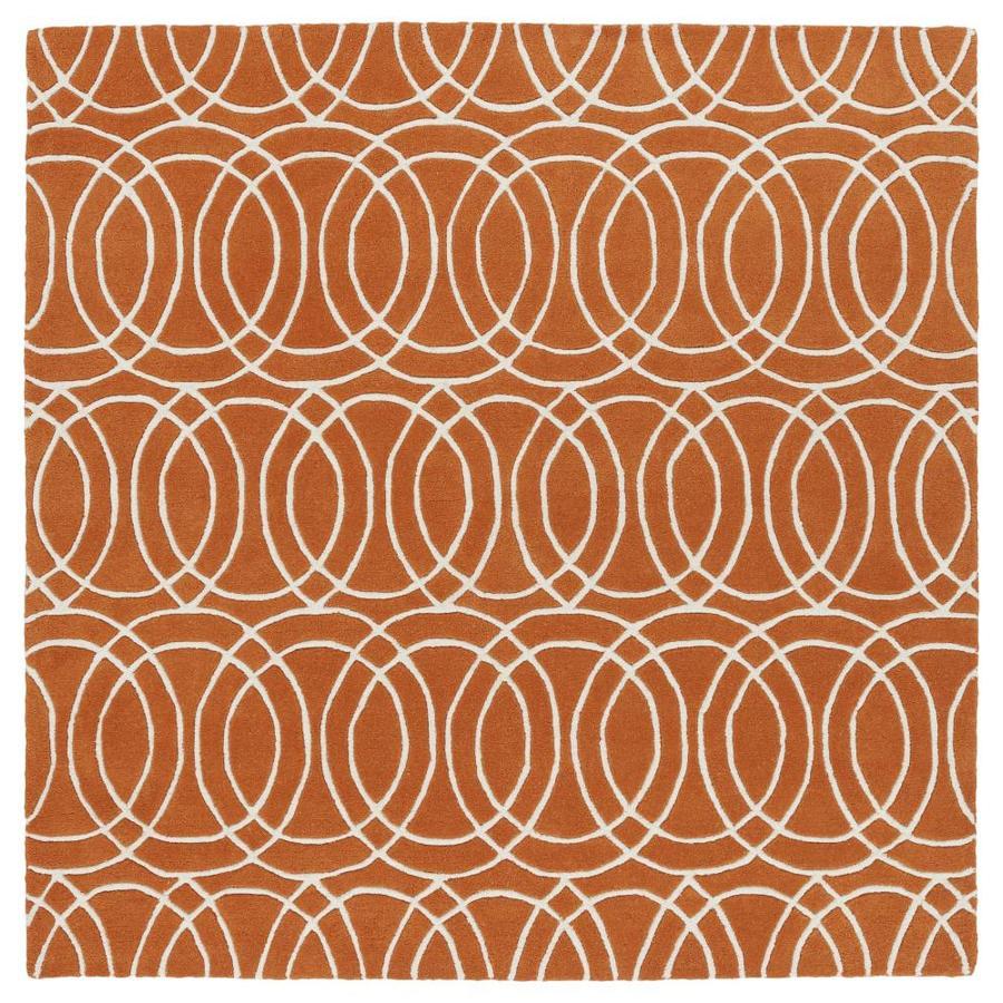 Kaleen Revolution Orange Square Indoor Handcrafted Novelty Area Rug (Common: 9 x 9; Actual: 9.75-ft W x 9.75-ft L)
