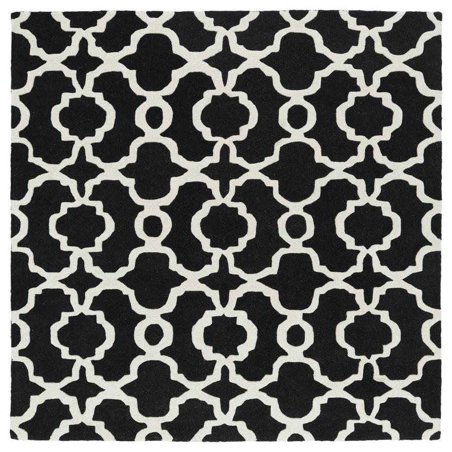 Kaleen Revolution Black Square Indoor Handcrafted Novelty Area Rug (Common: 6 x 6; Actual: 5.75-ft W x 5.75-ft L)