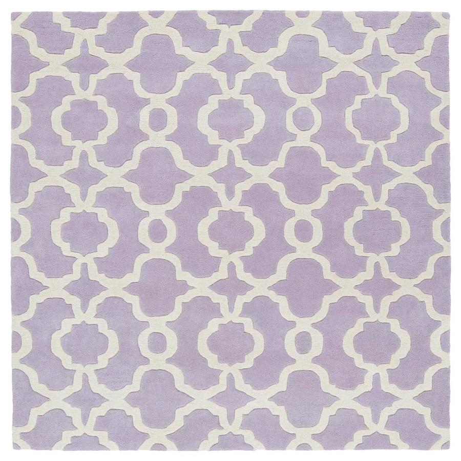Kaleen Revolution Lilac Square Indoor Handcrafted Novelty Area Rug (Common: 8 x 8; Actual: 7.75-ft W x 7.75-ft L)