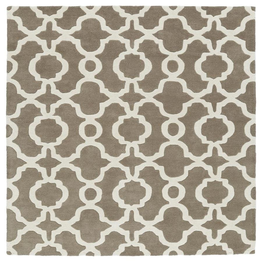 Kaleen Revolution Light Brown Square Indoor Handcrafted Novelty Area Rug (Common: 4 x 4; Actual: 3.75-ft W x 3.75-ft L)