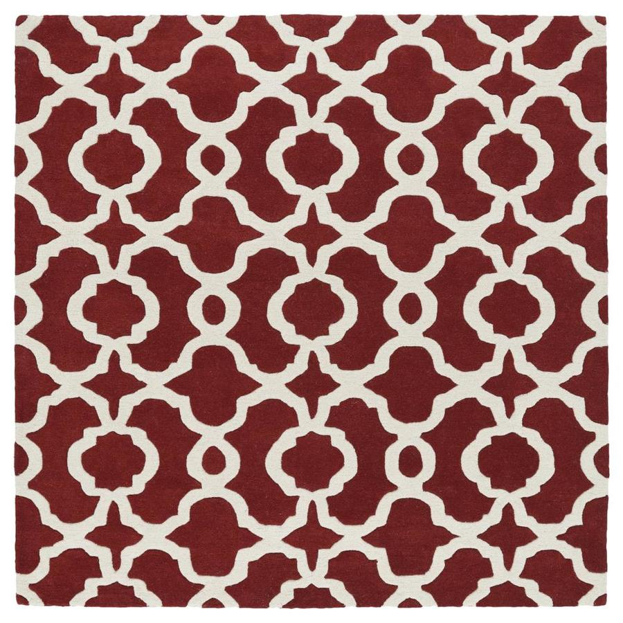 Kaleen Revolution Red Square Indoor Handcrafted Novelty Area Rug (Common: 4 x 4; Actual: 3.75-ft W x 3.75-ft L)