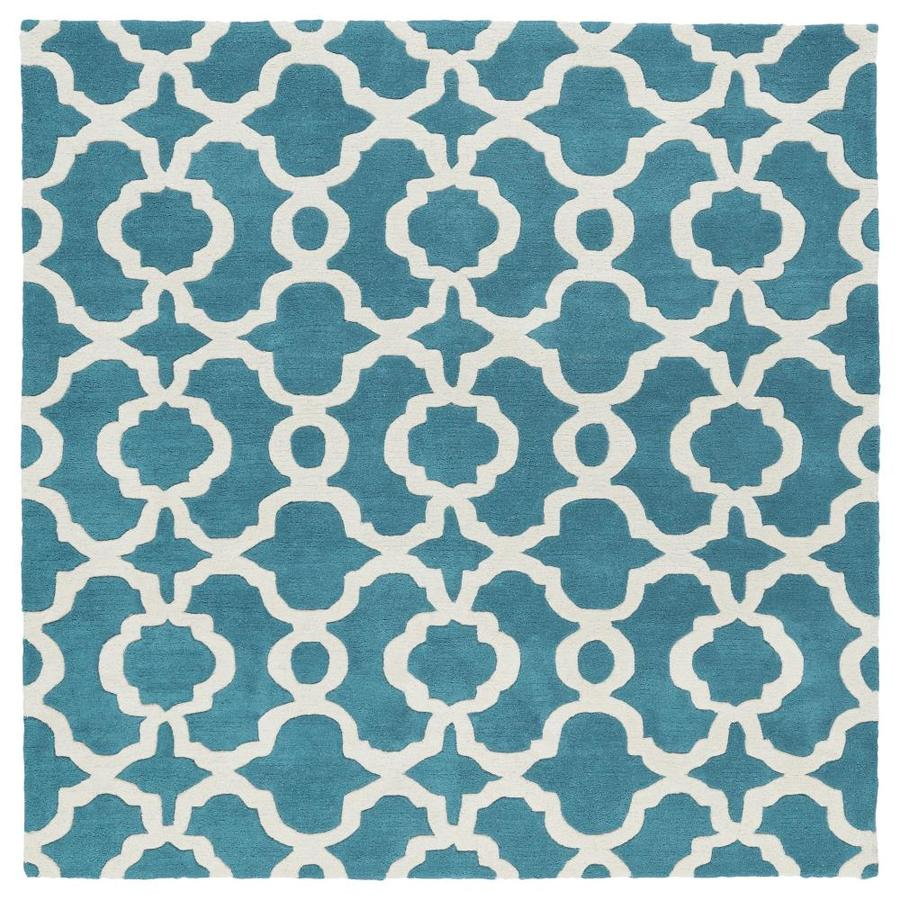 Kaleen Revolution Teal Square Indoor Handcrafted Novelty Area Rug (Common: 8 x 8; Actual: 7.75-ft W x 7.75-ft L)