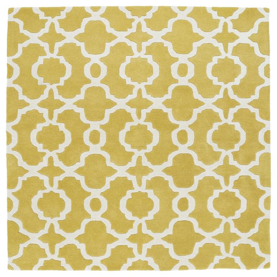 Kaleen Revolution Yellow Square Indoor Handcrafted Novelty Area Rug (Common: 4 x 4; Actual: 3.75-ft W x 3.75-ft L)
