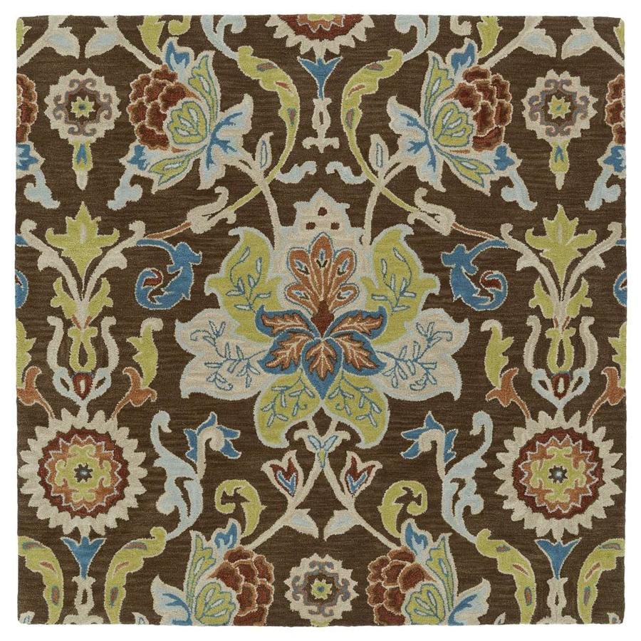 Kaleen Taj Chocolate Square Indoor Handcrafted Nature Area Rug (Common: 4 x 4; Actual: 3.75-ft W x 3.75-ft L)