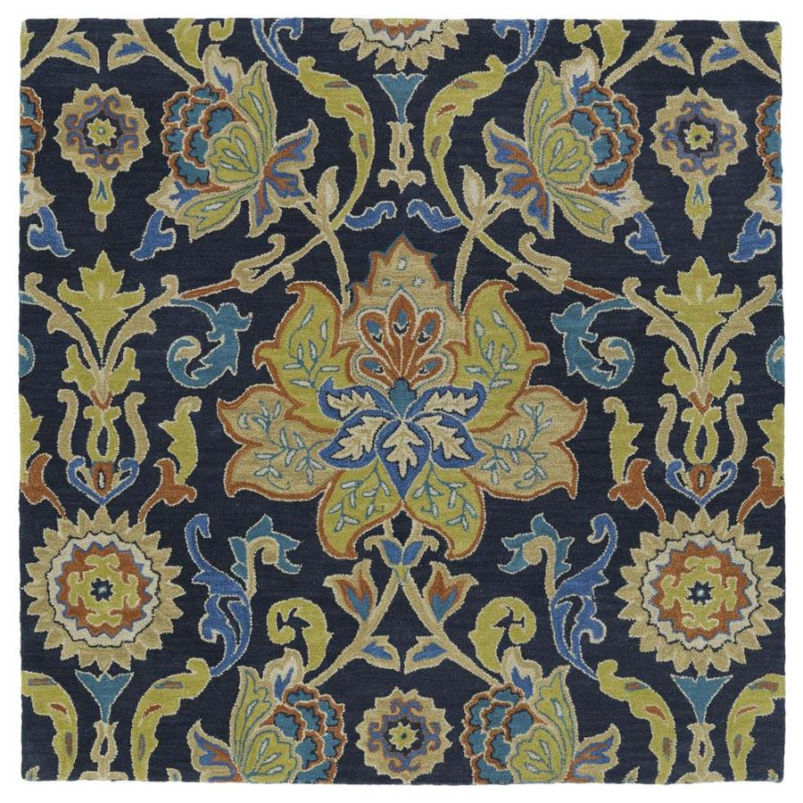 Kaleen Taj Navy Square Indoor Handcrafted Nature Area Rug (Common: 6 x 6; Actual: 5.75-ft W x 5.75-ft L)