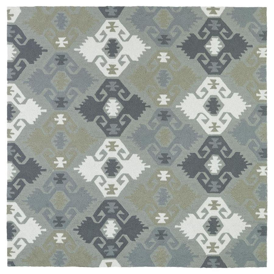 Kaleen Habitat Pewter Green Square Indoor/Outdoor Handcrafted Novelty Area Rug (Common: 8 x 8; Actual: 7.75-ft W x 7.75-ft L)