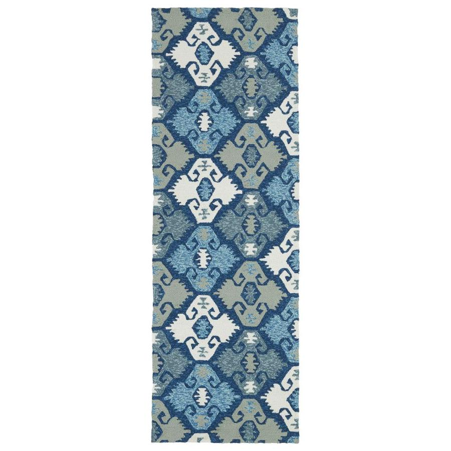 Kaleen Habitat Blue Rectangular Indoor/Outdoor Handcrafted Novelty Runner (Common: 2 x 8; Actual: 2.5-ft W x 8-ft L)