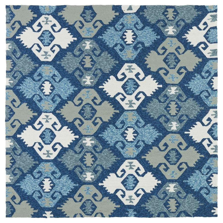Kaleen Habitat Blue Square Indoor/Outdoor Handcrafted Novelty Area Rug (Common: 8 x 8; Actual: 7.75-ft W x 7.75-ft L)