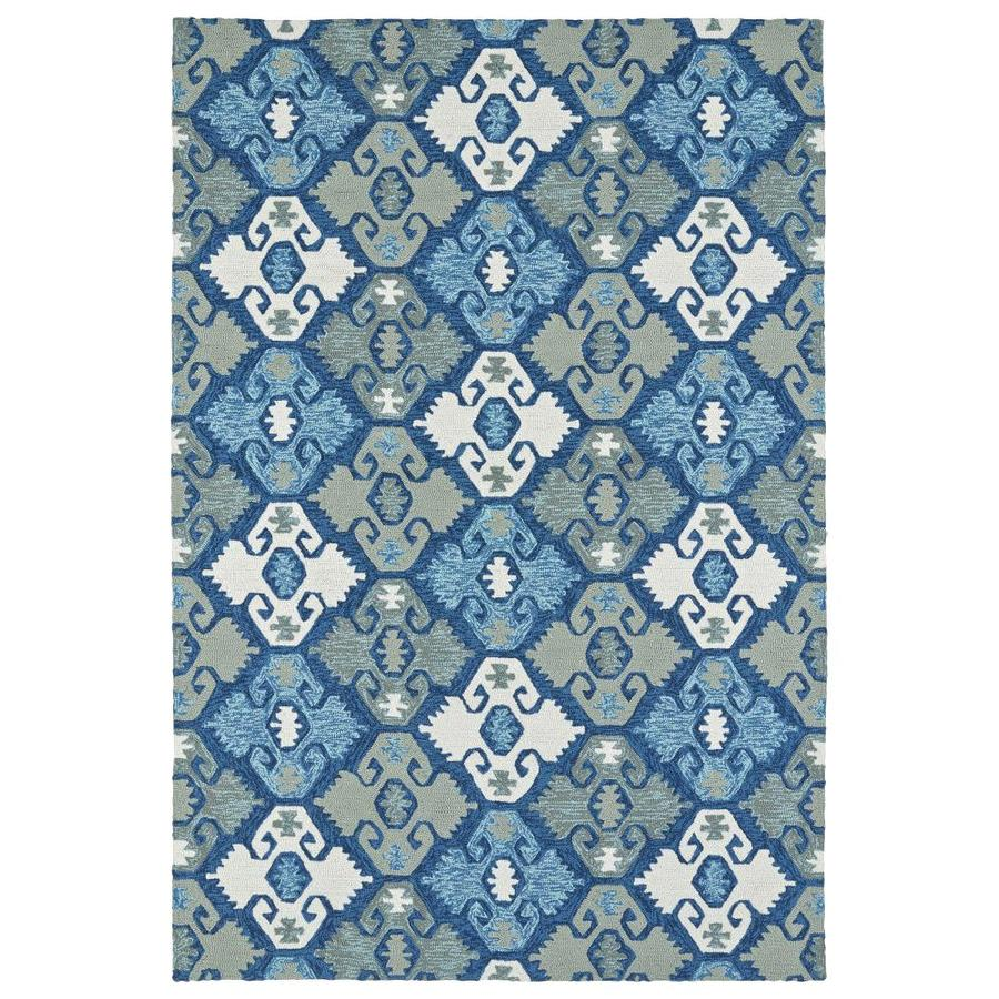 Shop Kaleen Habitat Blue Indoor Outdoor Handcrafted