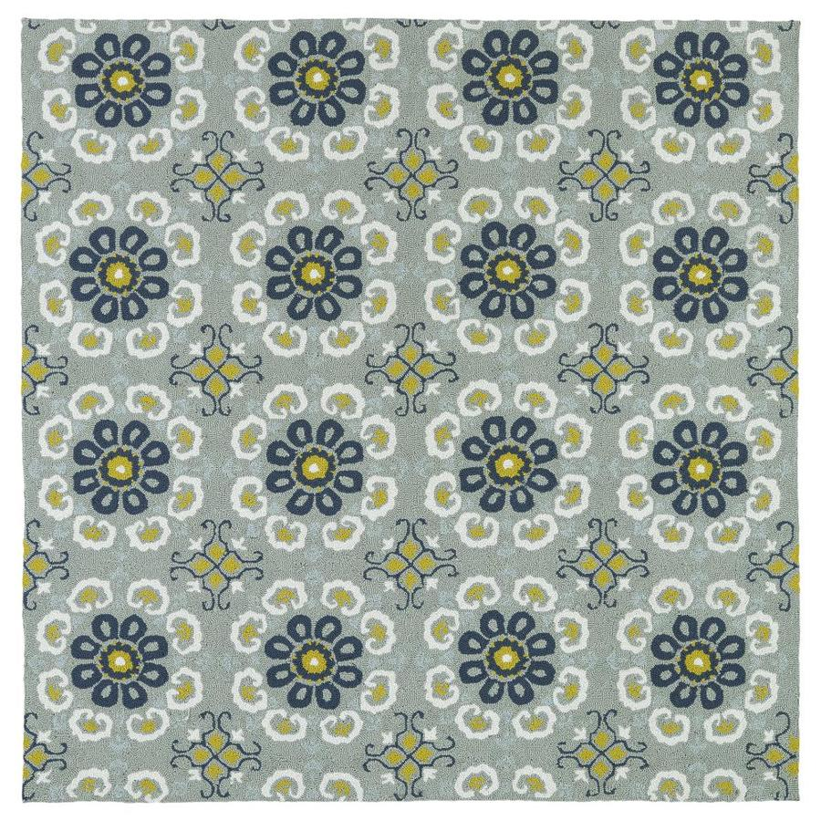 Kaleen Habitat Pewter Green Square Indoor/Outdoor Handcrafted Nature Area Rug (Common: 6 x 6; Actual: 5.75-ft W x 5.75-ft L)