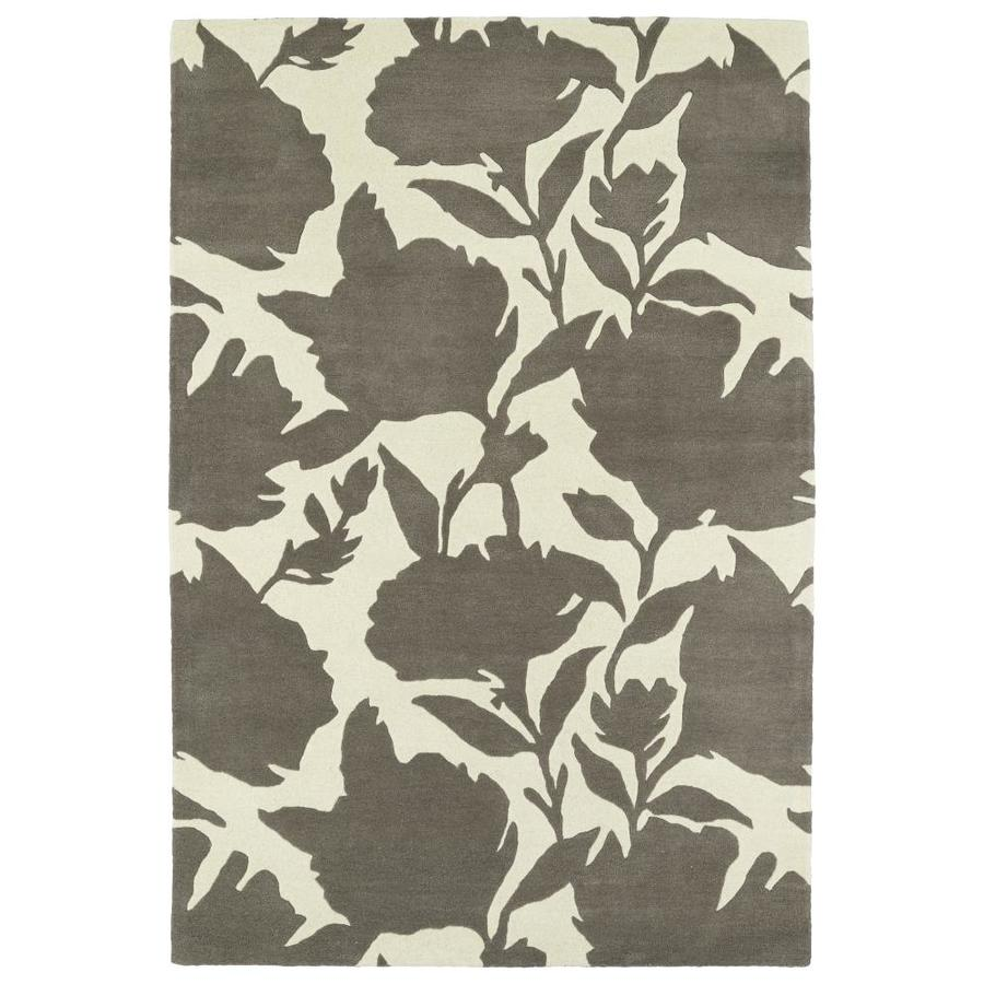 Kaleen Melange Grey Rectangular Indoor Handcrafted Oriental Throw Rug (Common: 3 x 5; Actual: 3-ft W x 5-ft L)