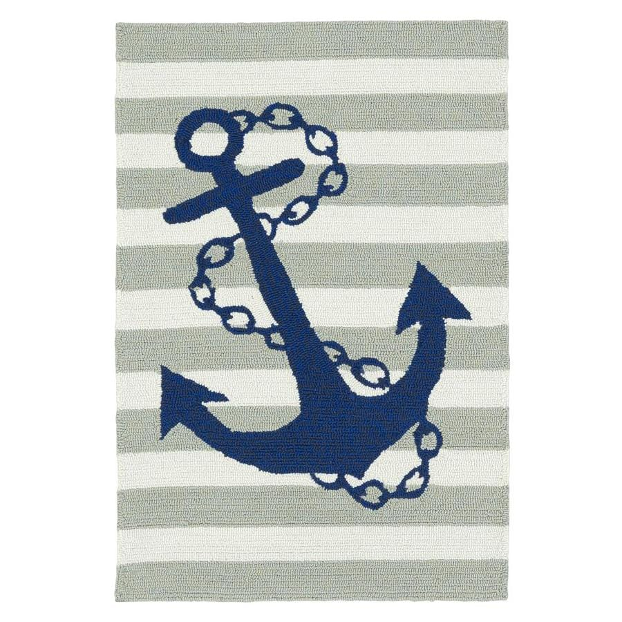 Kaleen Sea Isle Grey Rectangular Indoor/Outdoor Handcrafted Novelty Throw Rug (Common: 2 x 3; Actual: 2-ft W x 3-ft L)