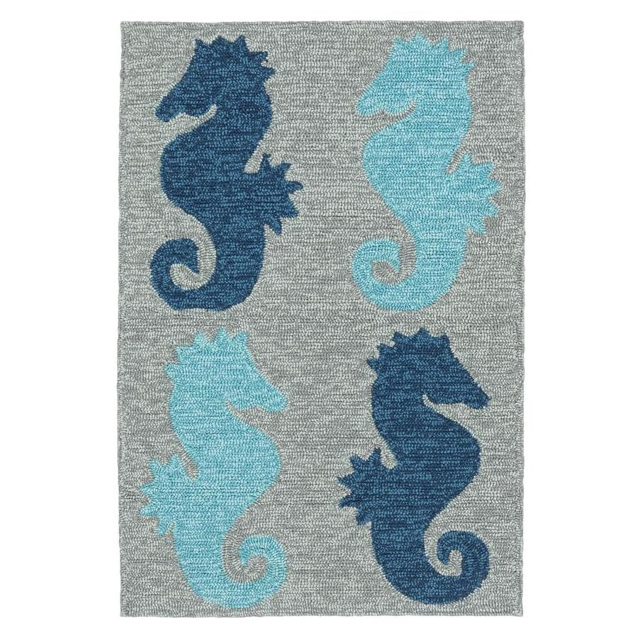Kaleen Sea Isle Blue Rectangular Indoor/Outdoor Handcrafted Novelty Throw Rug (Common: 2 x 3; Actual: 2-ft W x 3-ft L)
