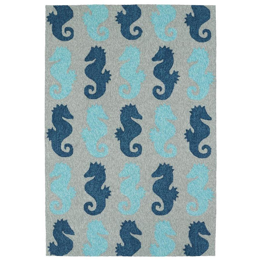 Kaleen Sea Isle Blue Rectangular Indoor/Outdoor Handcrafted Novelty Area Rug (Common: 8 x 10; Actual: 7.5-ft W x 9-ft L)