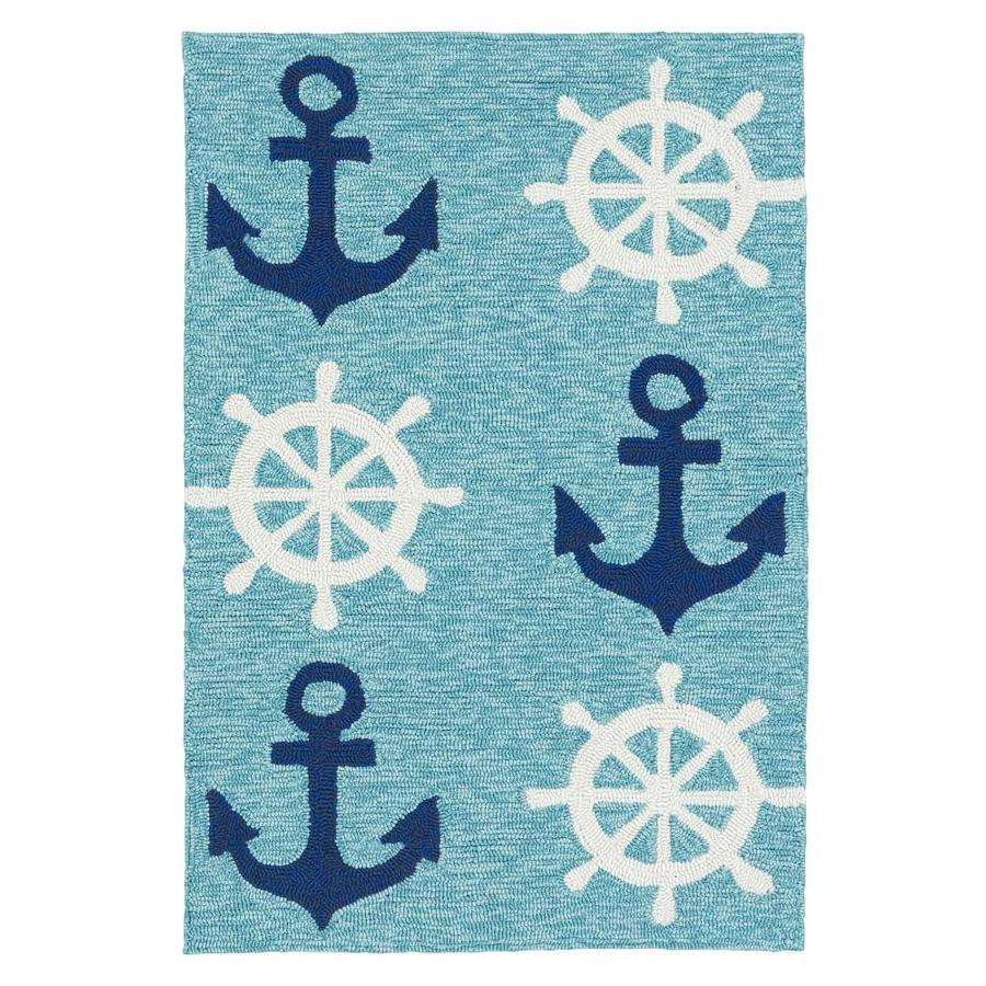 Kaleen Sea Isle Blue Indoor/Outdoor Handcrafted Novelty Throw Rug (Common: 2 x 3; Actual: 2-ft W x 3-ft L)