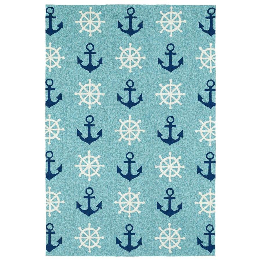 Kaleen Sea Isle Blue Indoor/Outdoor Handcrafted Novelty Area Rug (Common: 8 x 10; Actual: 7.5-ft W x 9-ft L)