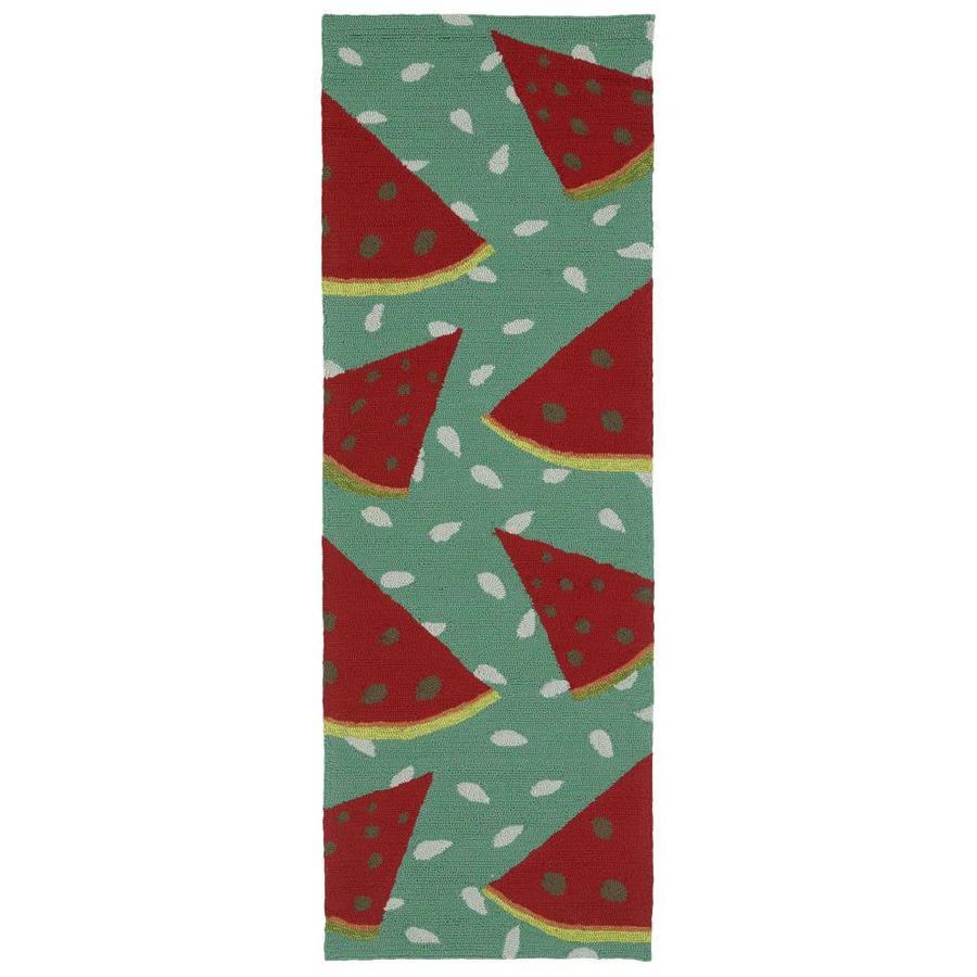 Kaleen Sea Isle Watermelon Indoor/Outdoor Handcrafted Novelty Runner (Common: 2 x 6; Actual: 2-ft W x 6-ft L)