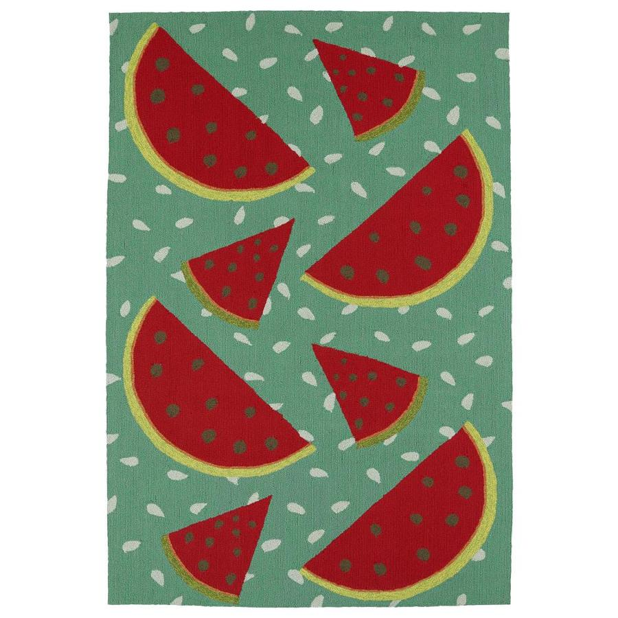 Kaleen Sea Isle Watermelon Indoor/Outdoor Handcrafted Novelty Throw Rug (Common: 3 x 5; Actual: 3-ft W x 5-ft L)