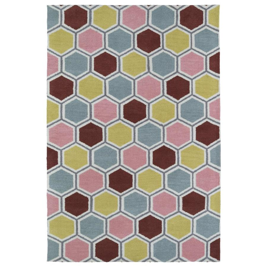 Kaleen Lily and Liam Pink Rectangular Indoor Handcrafted Kids Throw Rug (Common: 3 x 5; Actual: 3-ft W x 5-ft L)