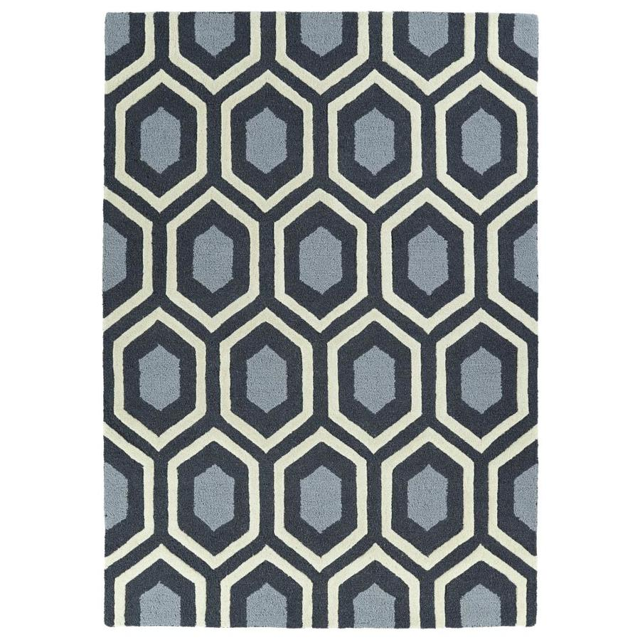 Kaleen Spaces Charcoal Indoor Handcrafted Inspirational Throw Rug (Common: 3 x 5; Actual: 3-ft W x 5-ft L)