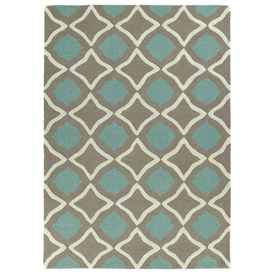 Kaleen Spaces Blue Rectangular Indoor Handcrafted Inspirational Area Rug (Common: 5 x 7; Actual: 5-ft W x 7-ft L)