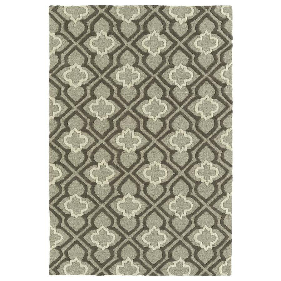 Kaleen Spaces Grey Rectangular Indoor Handcrafted Inspirational Throw Rug (Common: 3 x 5; Actual: 3-ft W x 5-ft L)