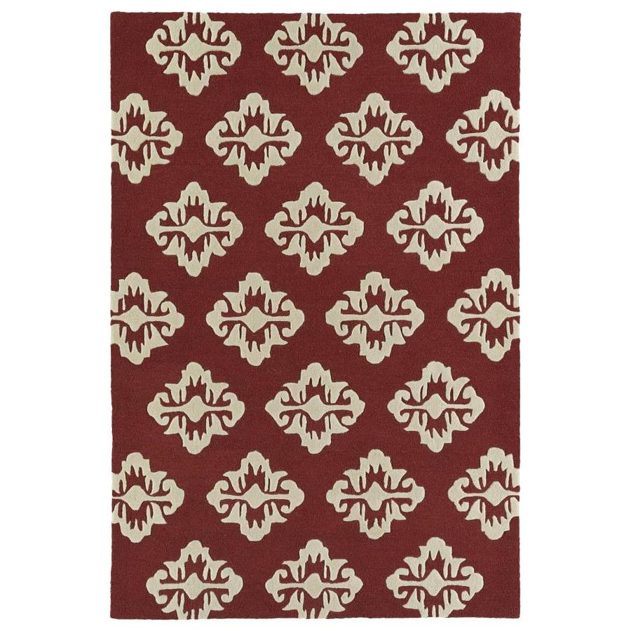 Kaleen Spaces Cranberry Indoor Handcrafted Inspirational Area Rug (Common: 5 x 7; Actual: 5-ft W x 7-ft L)