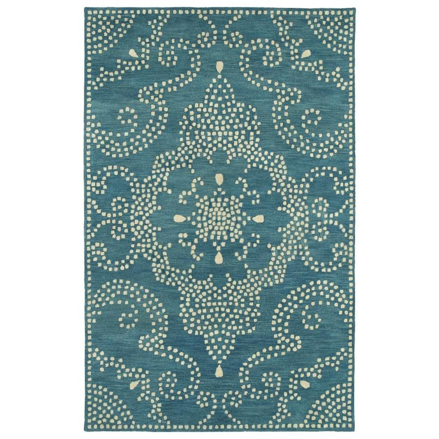Kaleen Rosaic Teal Indoor Handcrafted Area Rug (Common: 4 x 6; Actual: 3.5-ft W x 5.5-ft L)