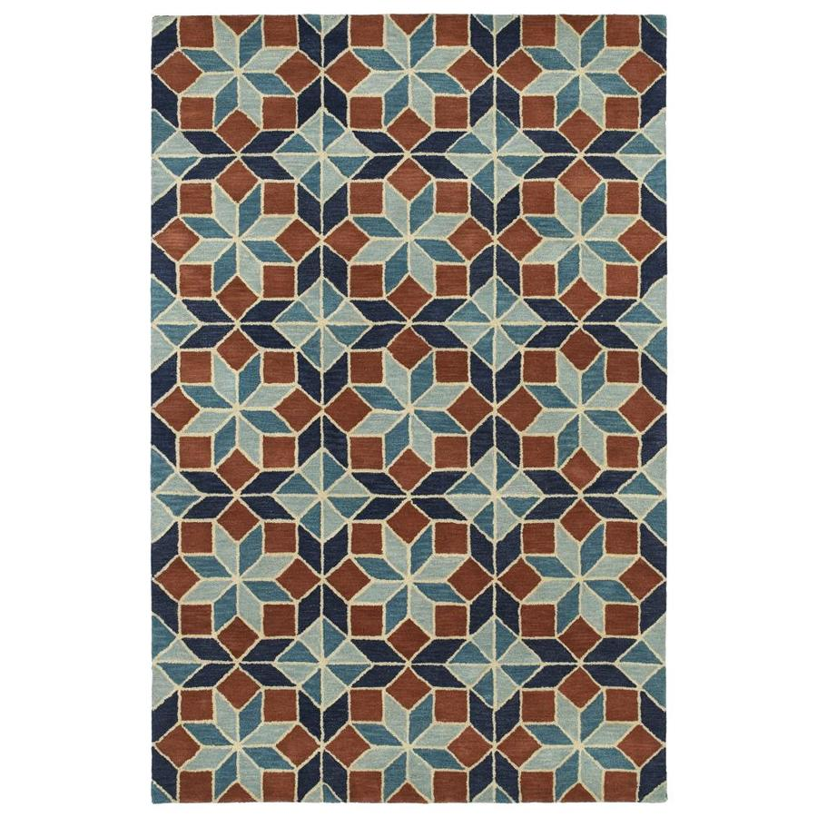 Kaleen Rosaic Turquoise Rectangular Indoor Handcrafted Area Rug (Common: 10 x 13; Actual: 9.5-ft W x 13-ft L)