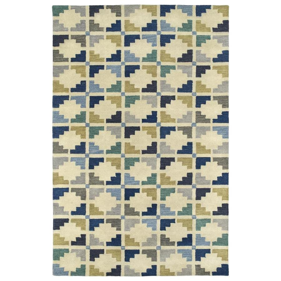 Kaleen Rosaic Blue Indoor Handcrafted Area Rug (Common: 10 x 13; Actual: 9.5-ft W x 13-ft L)