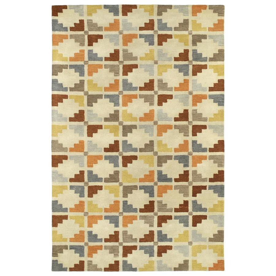 Kaleen Rosaic Sand Rectangular Indoor Handcrafted Area Rug (Common: 4 x 6; Actual: 3.5-ft W x 5.5-ft L)
