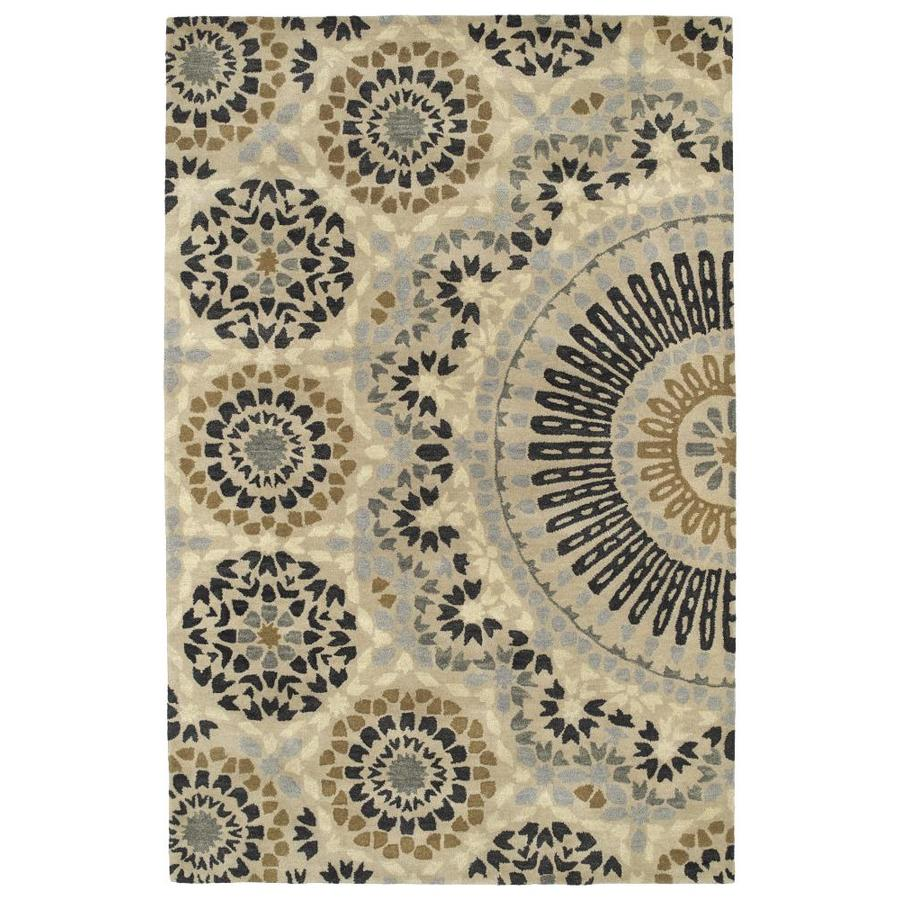 Kaleen Rosaic Charcoal Indoor Handcrafted Area Rug (Common: 4 x 6; Actual: 3.5-ft W x 5.5-ft L)
