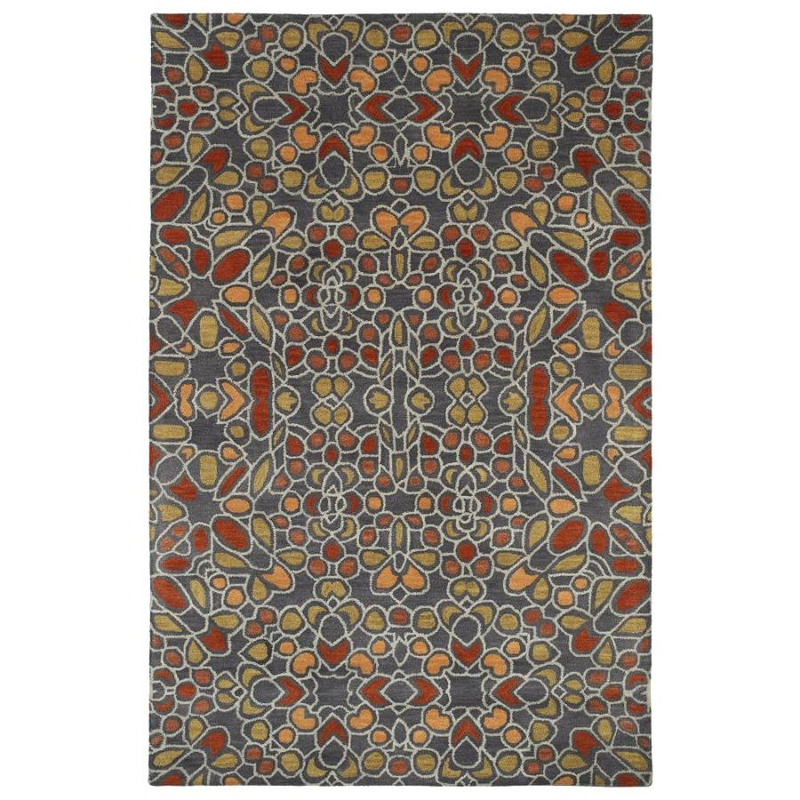 Kaleen Rosaic Charcoal Rectangular Indoor Handcrafted Area Rug (Common: 4 x 6; Actual: 3.5-ft W x 5.5-ft L)