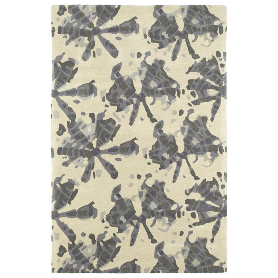 Kaleen Pastiche Grey Rectangular Indoor Handcrafted Inspirational Area Rug (Common: 5 x 8; Actual: 5-ft W x 7.75-ft L)